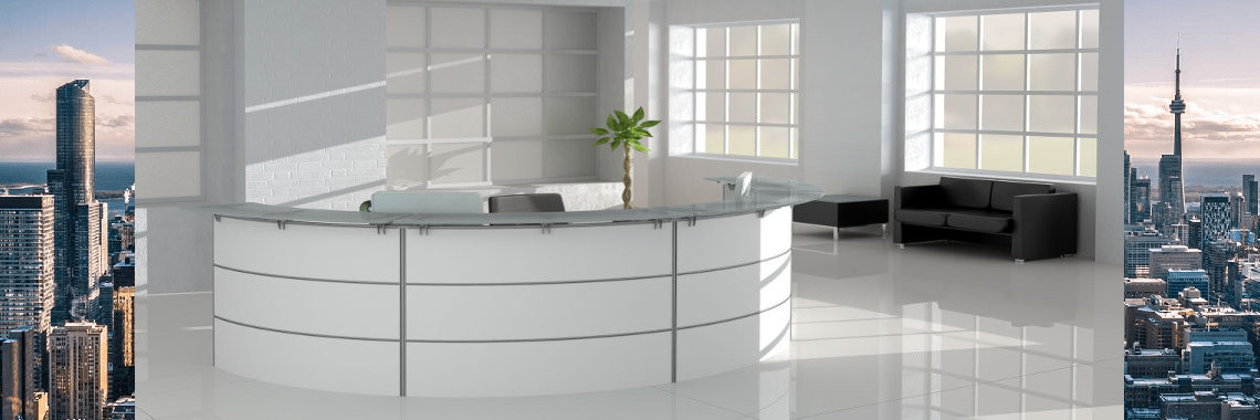 3 Panels Glass Top Curved Reception Desk