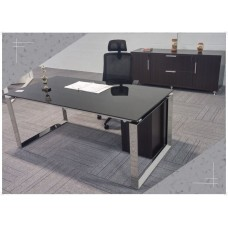 Executive Stainless Steel Desk Glass Top