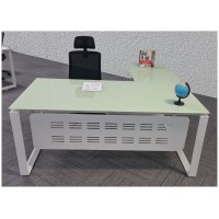 Glass L-shaped Executive Desk